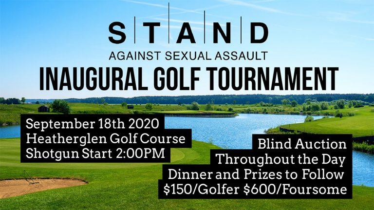STAND golf tournament poster